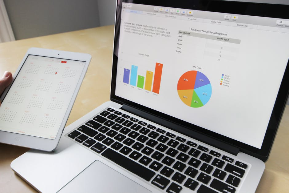 tablet with calendar and macbook with graphs