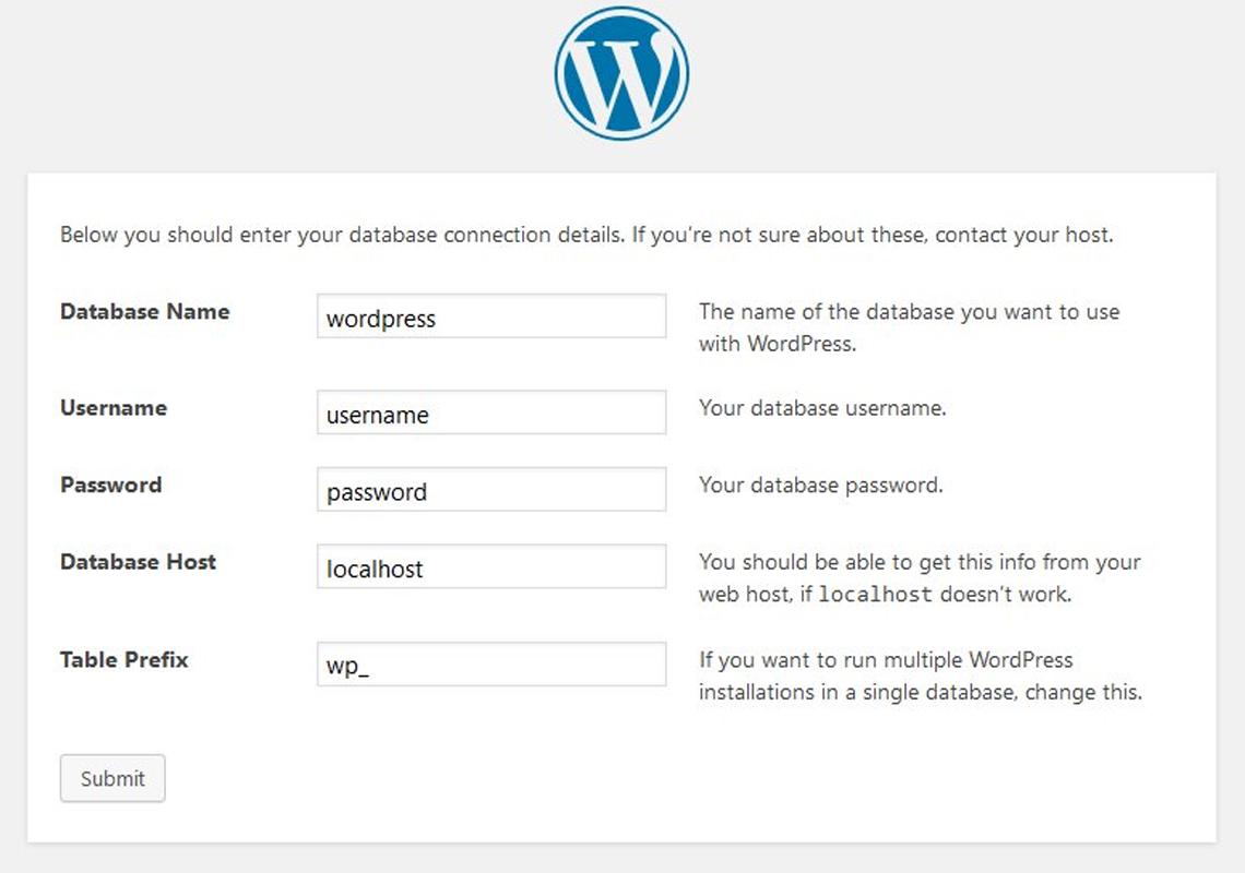 wordpress setup screen