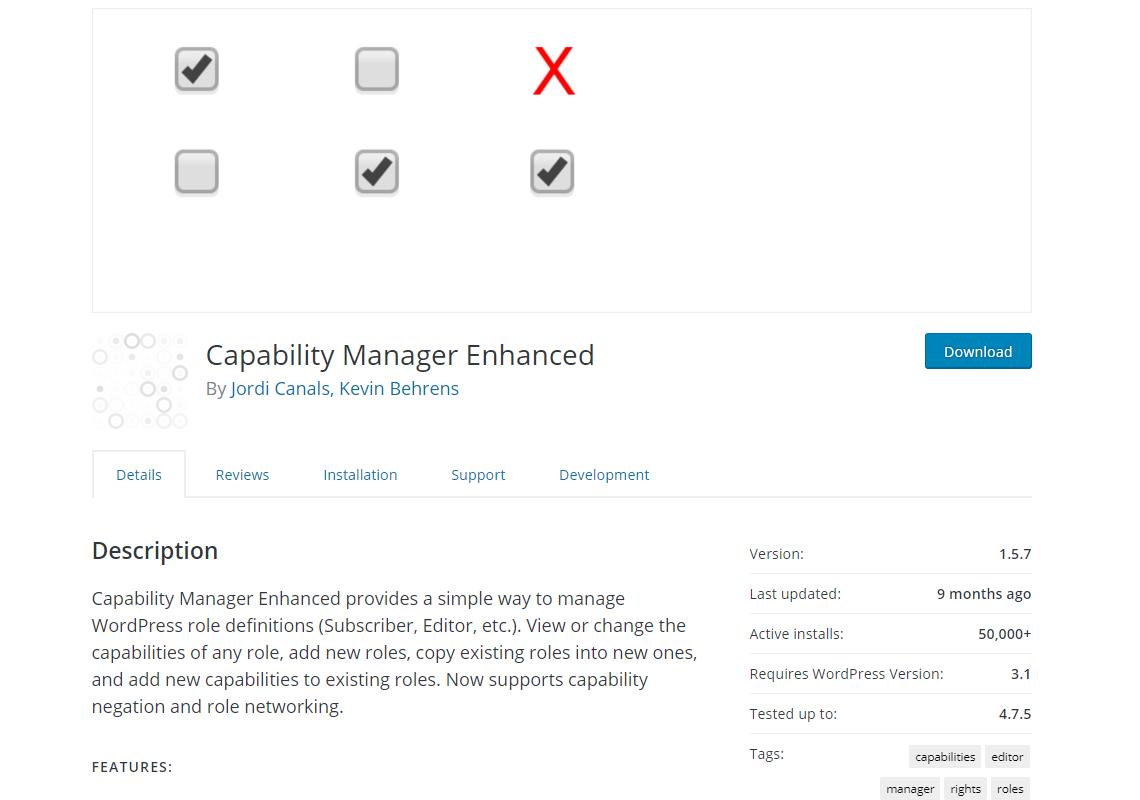 capability manager enhanced details