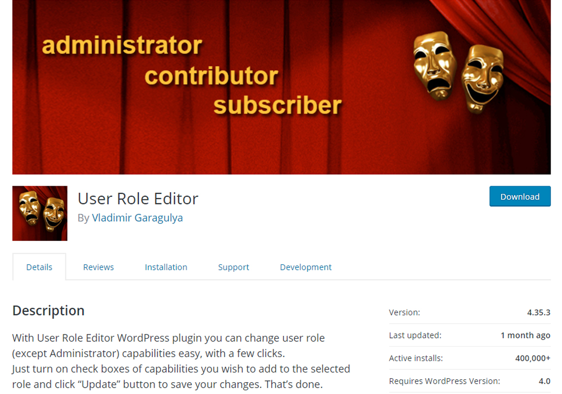 user role editor plugin details