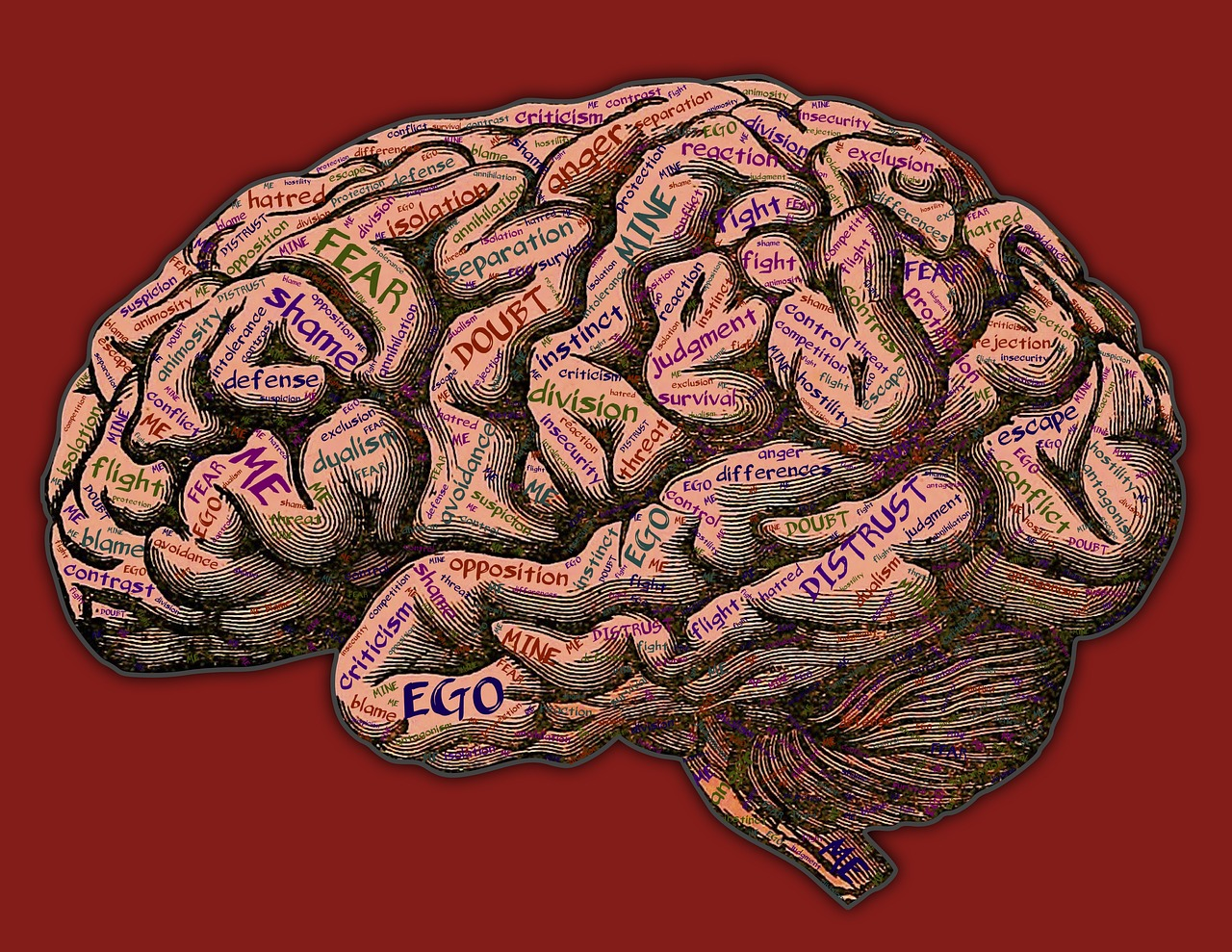 illustrated brain with trigger words written all over it