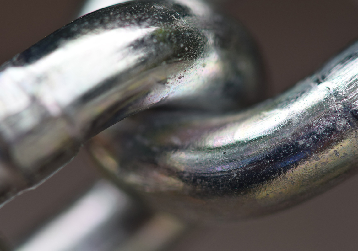 close up of a linked chain