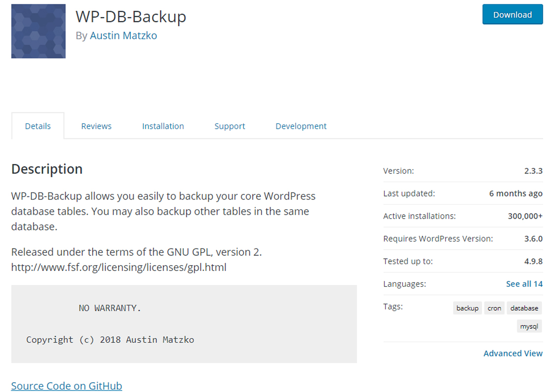 wp db backup plugin