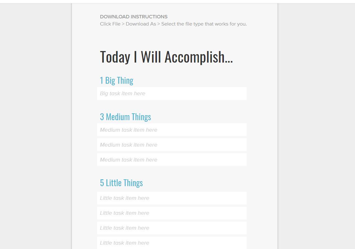 today i will accomplish