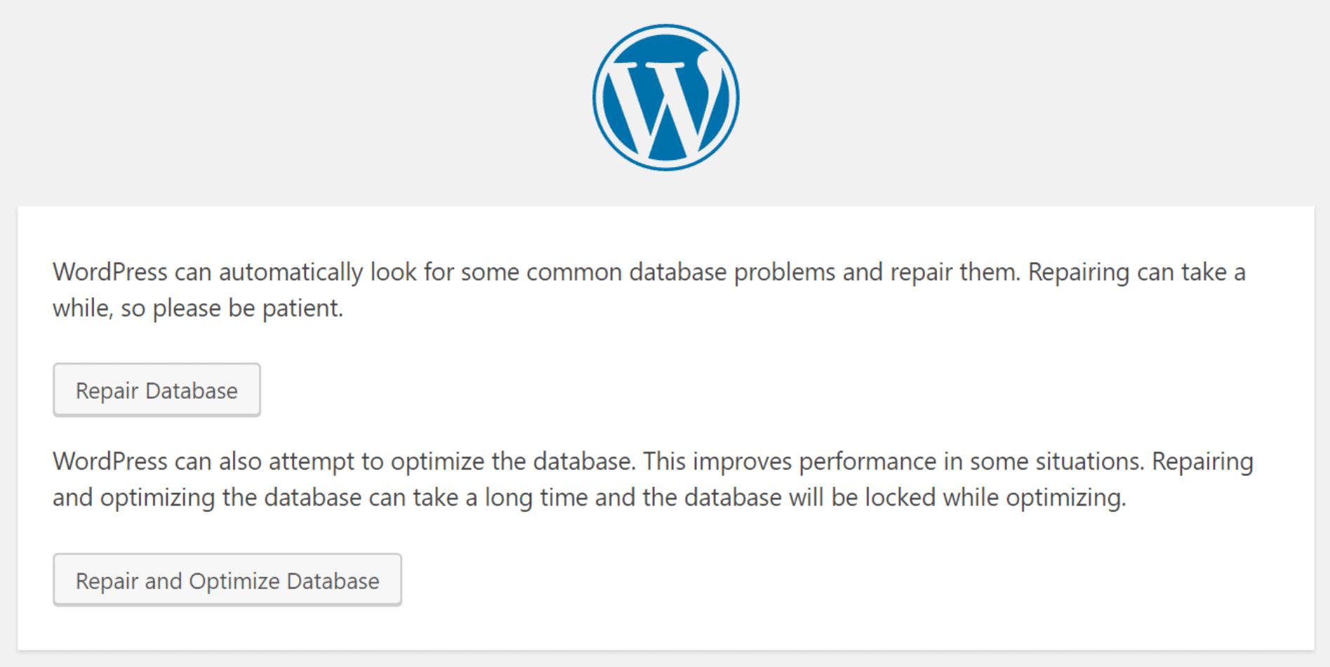 wordpress repair database