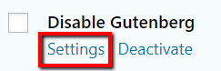 Disable Gutenberg General Settings