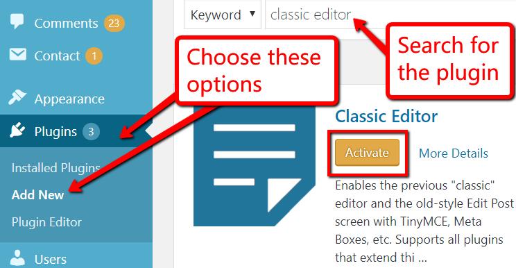 Classic Editor Activate