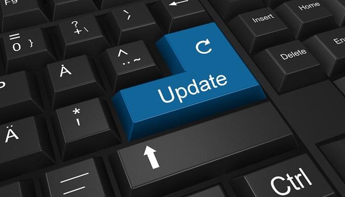 return button on keyboard with update written on it