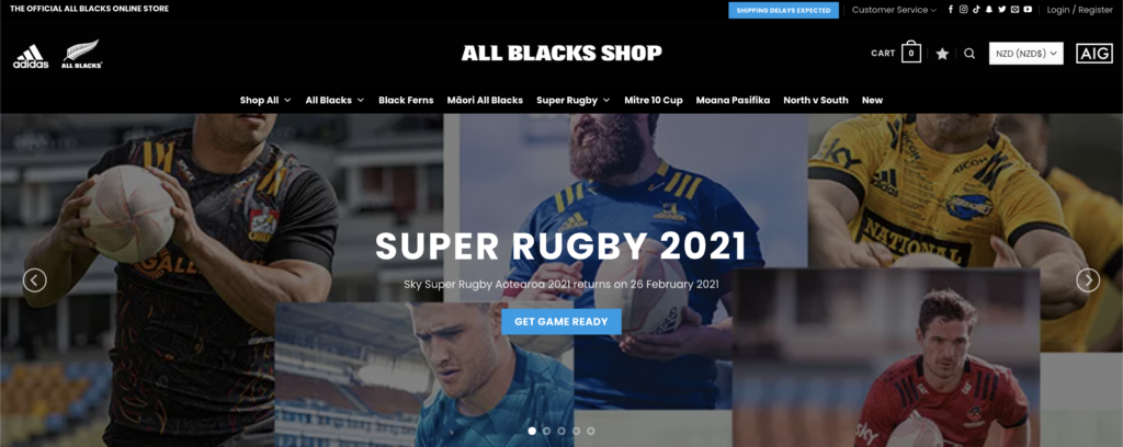 all blacks woocommerce website